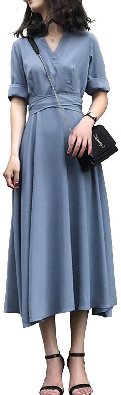 Đầm Dài Váy Ren Eo Retro Bacbao [Cổ Chữ V] Xanh Size S