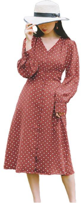 Đầm Dài Cổ Điển Yamamoto Bacbao [Rút Eo Phong Cách Nhật] Đỏ Size S
